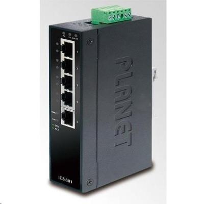 Planet switch IGS-501T, průmysl.verze 5x10/100/1000, DIN, IP30, -40 až 75°C, 12-48V, ESD+EFT
