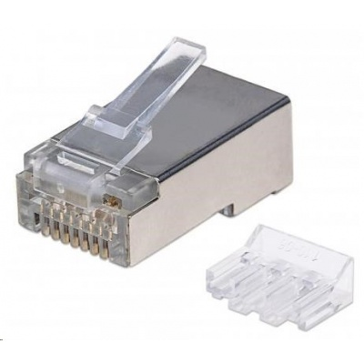 Intellinet konektor RJ45, Cat6A, stíněný STP, 15µ, drát, 90 ks v nádobě