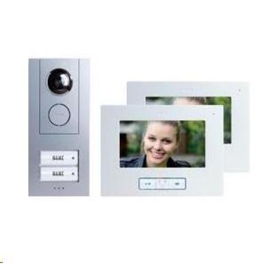 CONRAD Domácí videotelefon m-e, Vistus VD 6720, 2 rodiny, bílá/stříbrná